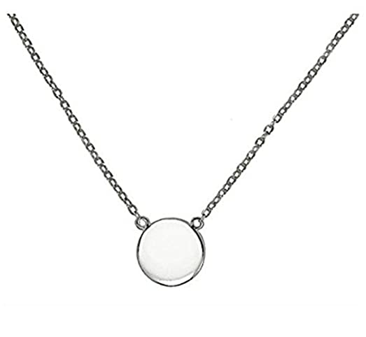 Amazon simple disk round pendant necklace 925 sterling silver simple disk round pendant necklace 925 sterling silver 16quot 18quot aloadofball Images