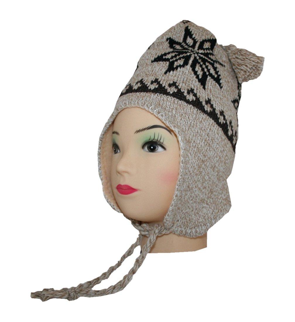 Stile nordico cappello berretto invernale lana cappello lavorato a maglia cappello da sci con orecchi e interno in pile (011)