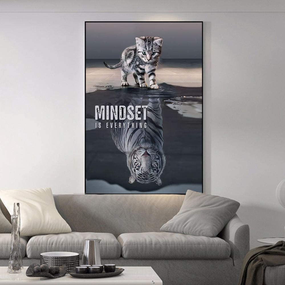 Mindset is Everything Canvas Art Poster and Wall Art Picture Print Modern Family Bedroom Decor (24x32inch,Framed)