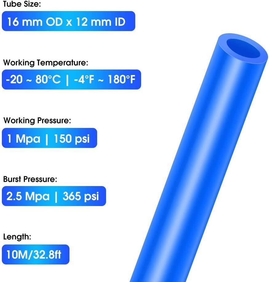 Tailonz Pneumatic 16mm OD 12mm ID Polyurethane PU Air Hose Pipe Tube Kit 5 Meter 16.4ft
