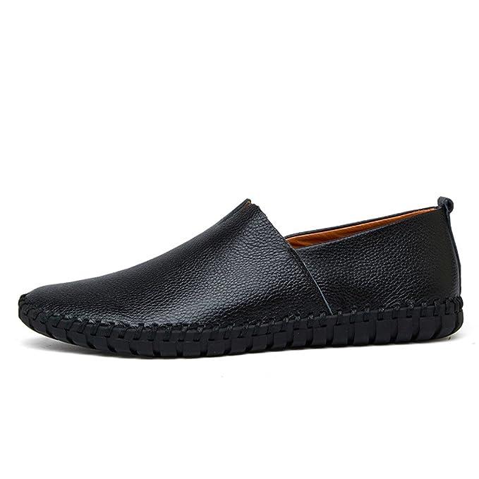 Xiaojuan-shoes, Mocasines Casual Drive Hombre Mocasines de Cuero Suave y Transpirable A Pedal 2018 Zapatos Oxford Hombre (Color : Negro, tamaño : 49 EU): ...