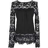 Dream Garden Women Spring Long Sheer Sleeve Embroidery Tops Blouse Lace Crochet Chiffon Shirt