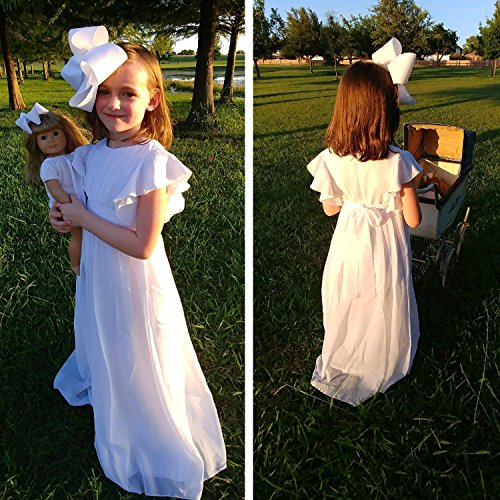 f152352ec Abaowedding Fancy Chiffon Flower Girl Dresses Flutter Sleeves First  Communion Dress(Size 12,White