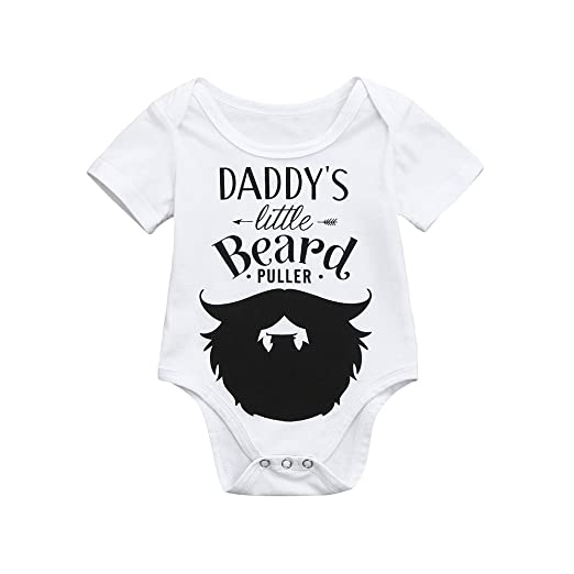 0b88aadb90e6 Sameno Cute Newborn Kids Baby Boys Girls Letter Beard Print Outfits Romper  Jumpsuit Clothes (White