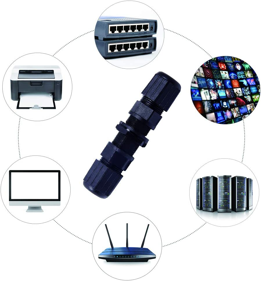 Pack of 5 CAT 5E Female to Female CAT 6 CAT 5 Panel Mount M20 IP65 Ethernet LAN Cable Coupler Icstation RJ45 Waterproof Connector