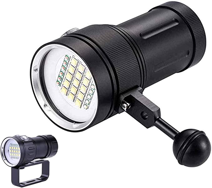 HelloCreate Diving Flashlight with Strap Handheld Zoomable Underwater 1200LM T6 LED Diving Flashlight Waterproof Battery Power