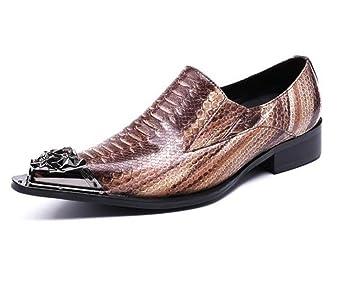 Orfila Zapatos de piel para hombre, diseño de club nocturno, para fiestas, de metal, tallas 38 a 45: Amazon.es: Deportes y aire libre