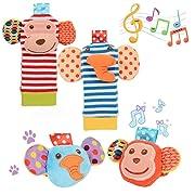Daisy 4 Packs Adorable Animal Infant Baby Wrist Rattle & Foot Finder Socks Monkey and Elephant Developmental Toys Set - Wonderful Baby Gift