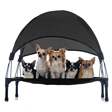 Hamaca mascotas Cama Perros Gatos Relax Jardín Outdoor Protección solar Sombrilla Animales S Negro