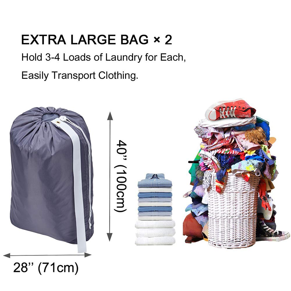 HOMEST 71cm/×101cm 2 Pack Large Travel Laundry Bag with Shoulder Strap Drawstring Closure Machine Washable Rip-Stop Dirty Clothes Bag