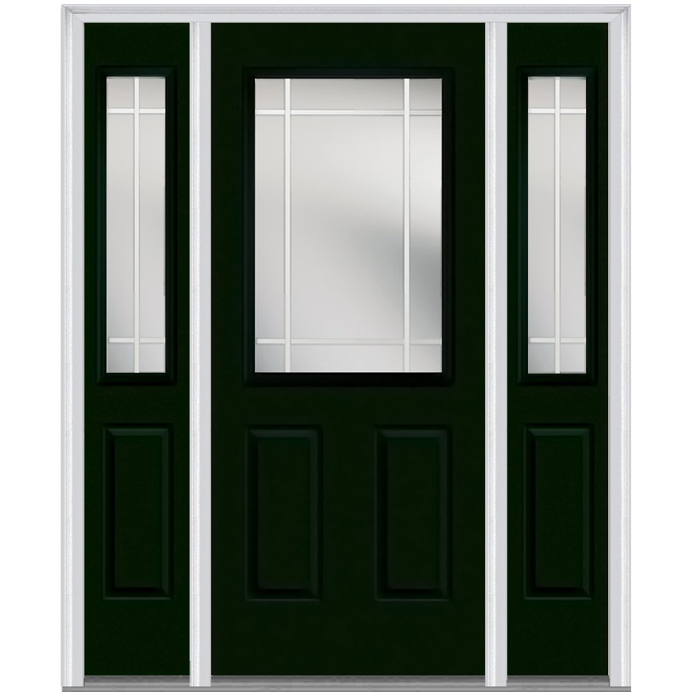 National Door Company Z005476R Steel, Hunter Green, Right Hand In-swing, Exterior Prehung Door, Internal Grilles 1/2 Lite 2-Panel, 36''x80 with 12'' Sidelites
