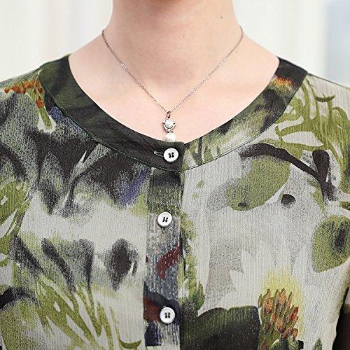 Dissa De Femmes Des Manches Courtes Millésime Cocktail Midi Taille Plus Robe De Soie Vert Été