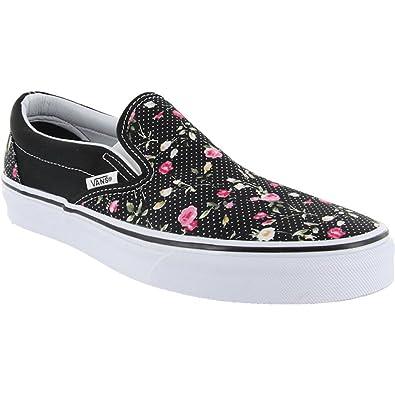 2f78ae7f46 Vans Damen Schuhe Classic Slip-on Black Flower Schwarz GR 34