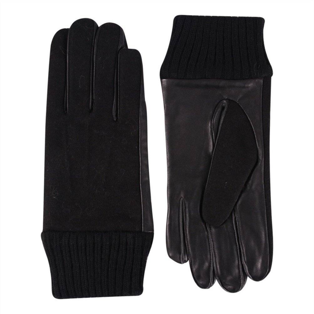 Black Leather Gloves Men Cold Weather, Color Inchoice Light Warm Winter Soft Real Leather Gloves(XL)