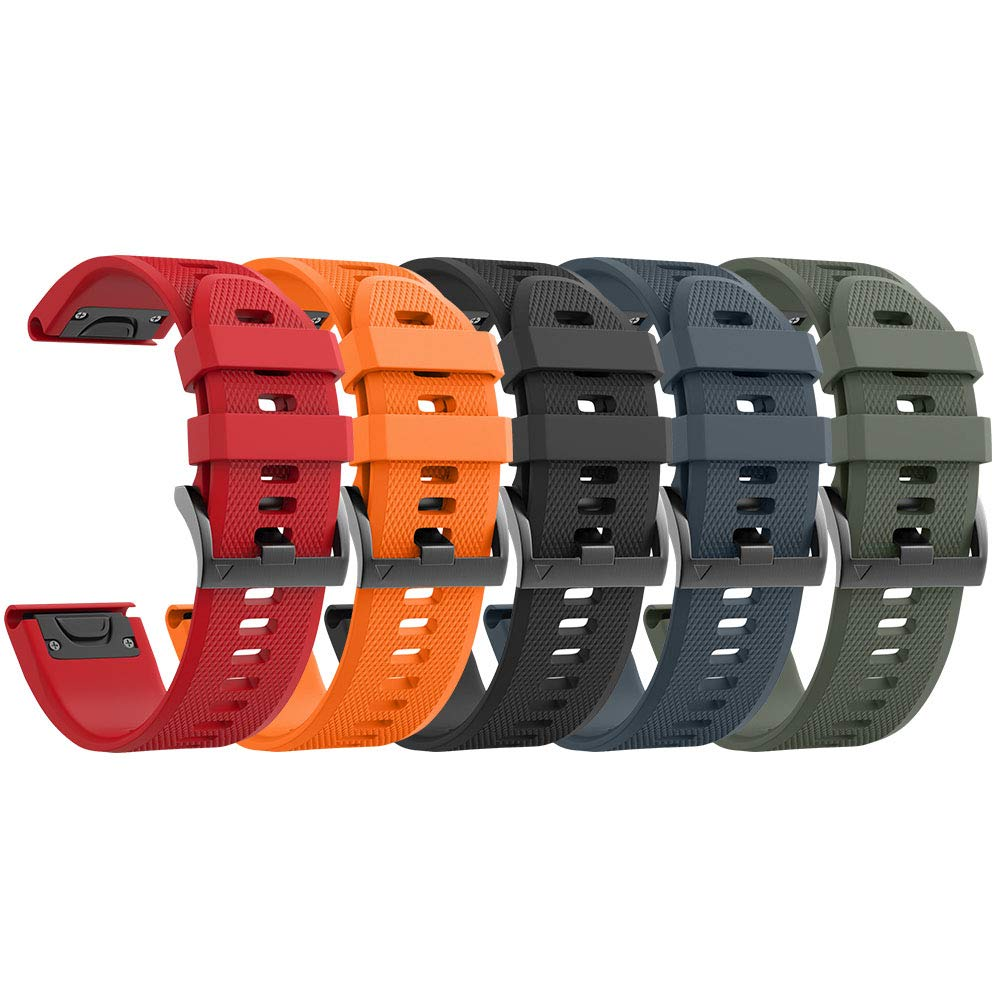 NotoCity Compatible with Forerunner 935 Watch Band Silicone Watch Strap Replacement for Fenix 5/Fenix 5 Plus/Fenix 6/Fenix 6 Pro/Forerunner 935/945/Approach S60/Quatix 5(Black/Slate/Red/Orange/Army) by NotoCity