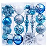 Valery Madelyn 70ct Winter Wishes Blue Silver Shatterproof Christmas Ball Ornaments Decoration, Themed with Tree Skirt(Not Included)