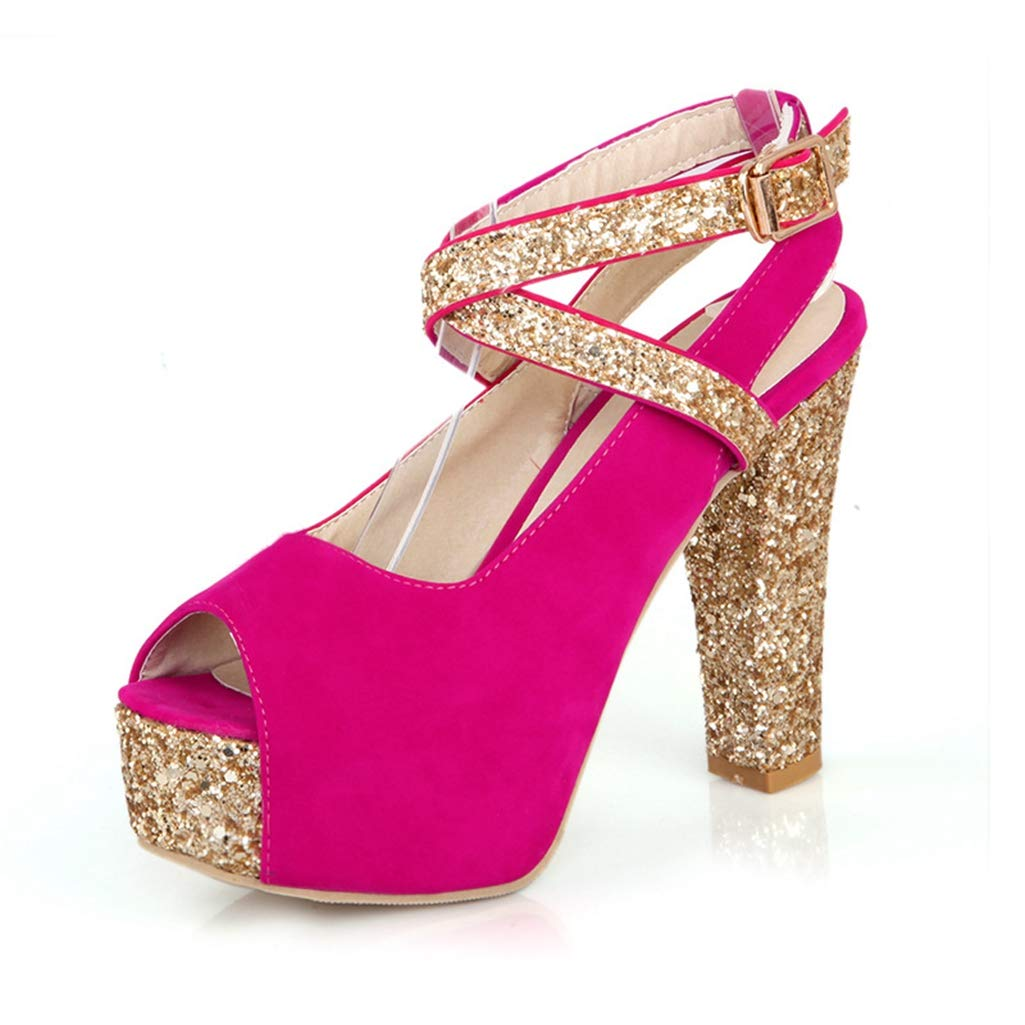 Women's Glitter Platform Peep Toe Ankle Strap Chunky Block High-Heel Red Sandals - DeluxeAdultCostumes.com
