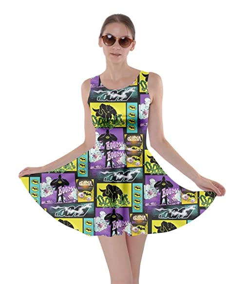 CowCow Womens Middle Finger Hands Emotions Emoji Smile Face Lips Pop Art  Skater Dress, XS-5XL