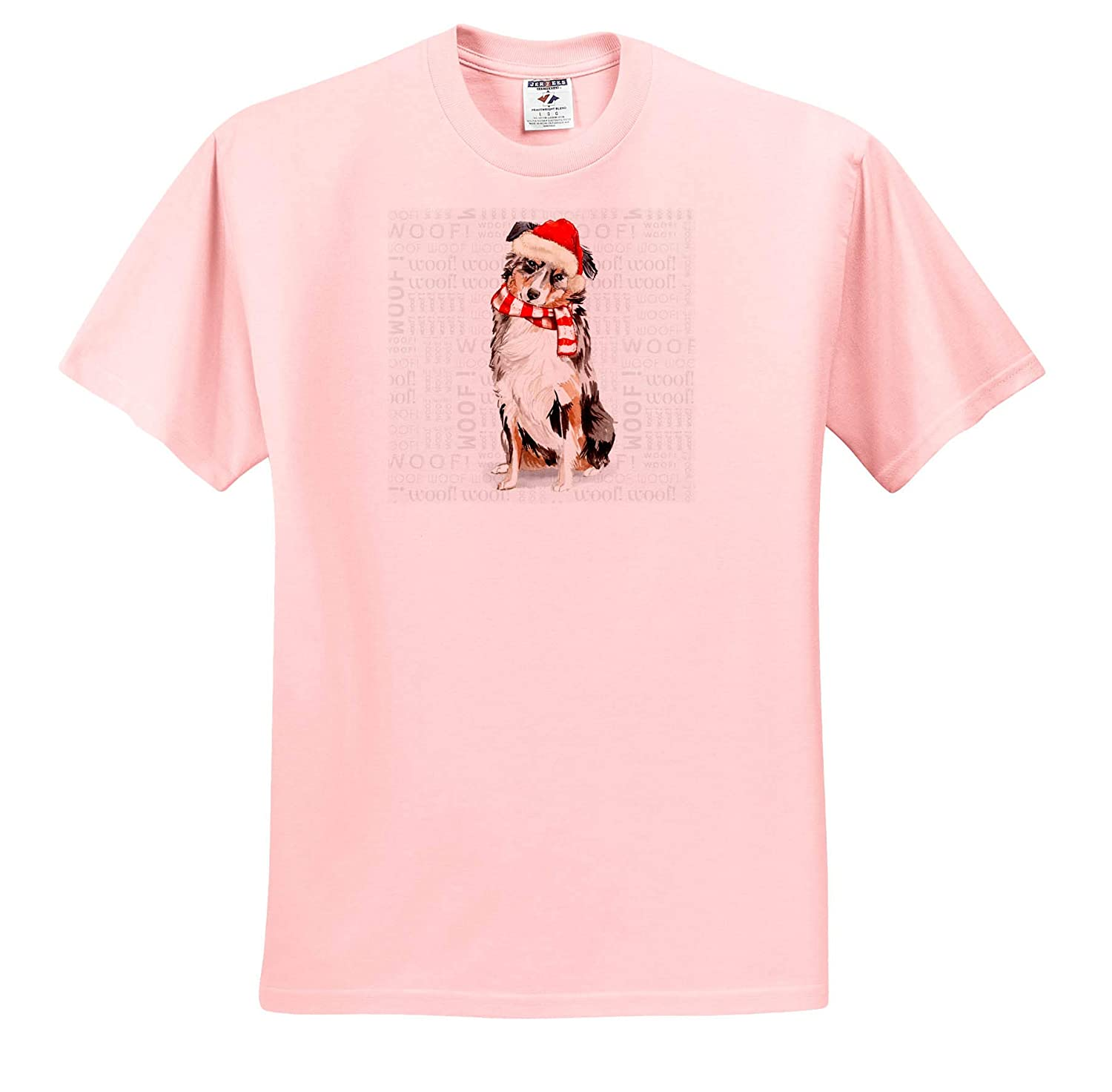 T-Shirts 3dRose Doreen Erhardt Christmas Collection Cute Australian Shepherd Dog in a Red Santa Hat and Christmas Scarf
