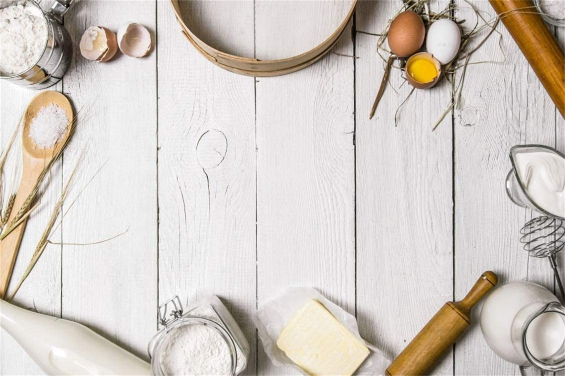 CSFOTO 5x3ft Polyester Background Baking Ingredients for Dough and Tools Photography Backdrop Cooking Pastry Bakery Food Preparation Utensil Table Eggs Flour Homemade Photo Studio Props
