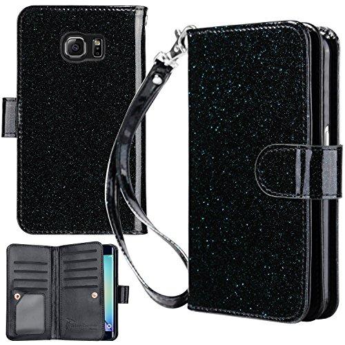 UrbanDrama Galaxy S6 Edge Case, S6 Edge Wallet Case, Glitter Shiny Faux Leather Magnetic Closure Credit Card Slot Cash Holder Kickstand Protective Case Compatible Samsung Galaxy S6 Edge, Black
