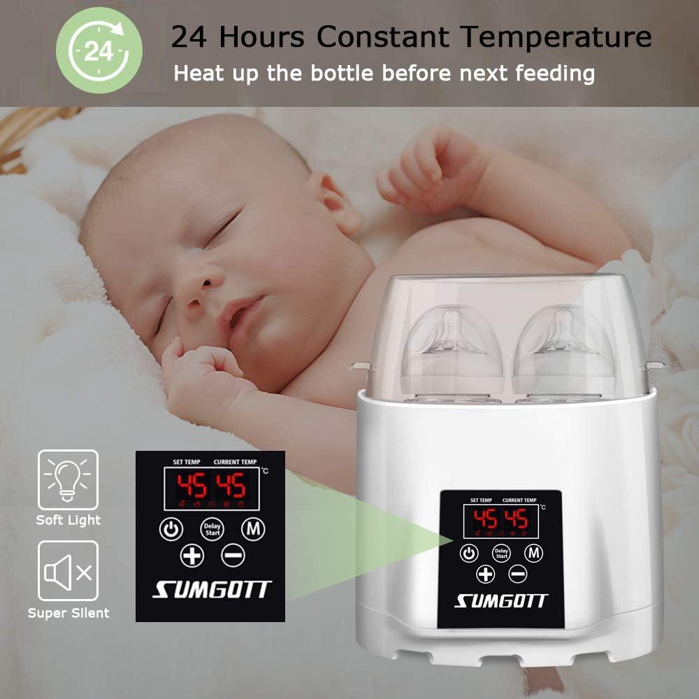Multifuncional Esterilizador//Calentador de alimentos,SUMGOTT dise/ño de botellas dobles Termostato inteligente Calentador 5 en 1 Calienta Biberones con Funci/ón de reserva