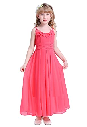 HAPPY ROSE Long Chiffon Flower Girls Juniors Bridesmaid Dress Coral 4