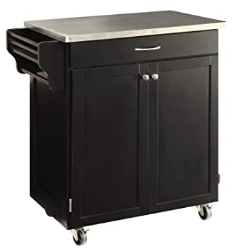 Oliver And Smith Nashville Collection Mobile Kitchen Island Cart On Wheels Black