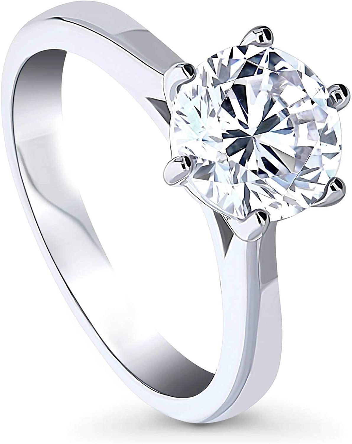 BERRICLE Rhodium Plated Sterling Silver Round Cubic Zirconia CZ Solitaire Promise Wedding Engagement Ring 2 CTW