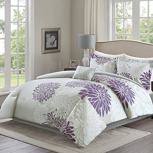 Comfort Spaces Enya Comforter Set - 5 Piece – Purple, Grey – Floral Printed – King size, includes 1 Comforter, 2 Shams, 1 Decorative Pillow, 1 Bed Skirt