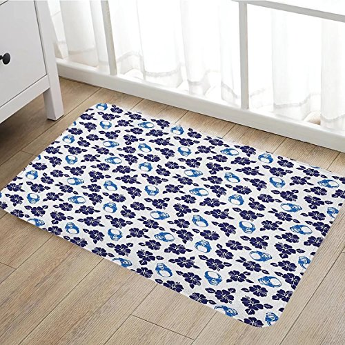 Exotic Bath Mat non slip Tropical Hibiscus Flowers with Cool Skull Sunglasses Foliage Silhouette Customize door mats for home Mat20