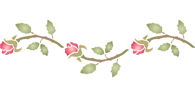 bocciolo di rosa stencil–24x 11.5cm–riutilizzabili boccioli di fiori di Border stencil da utilizzare su carta progetti scrapbook Journal muri pavimenti tessuto mobili in vetro legno etc. Stencil Company