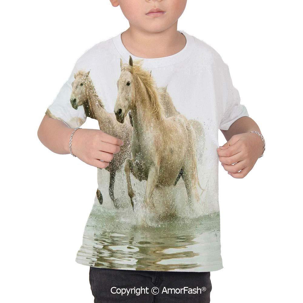 Animal Decor Lovely Printed T-Shirts,Crew Neck T-Shirt of Girls,Polyester,Camarg