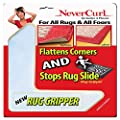 Rug Gripper with NeverCurl (8 Pack) - Instantly Flattens Rug Corners AND Stops Rug Slipping. Uses Renewable Sticky Gel. 8 Pieces. Patent Pending by NeverCurl