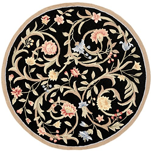 Safavieh Chelsea Collection HK248B Hand-Hooked Black Premium Wool Round Area Rug (8' Diameter) - 8r Chelsea Round Rug