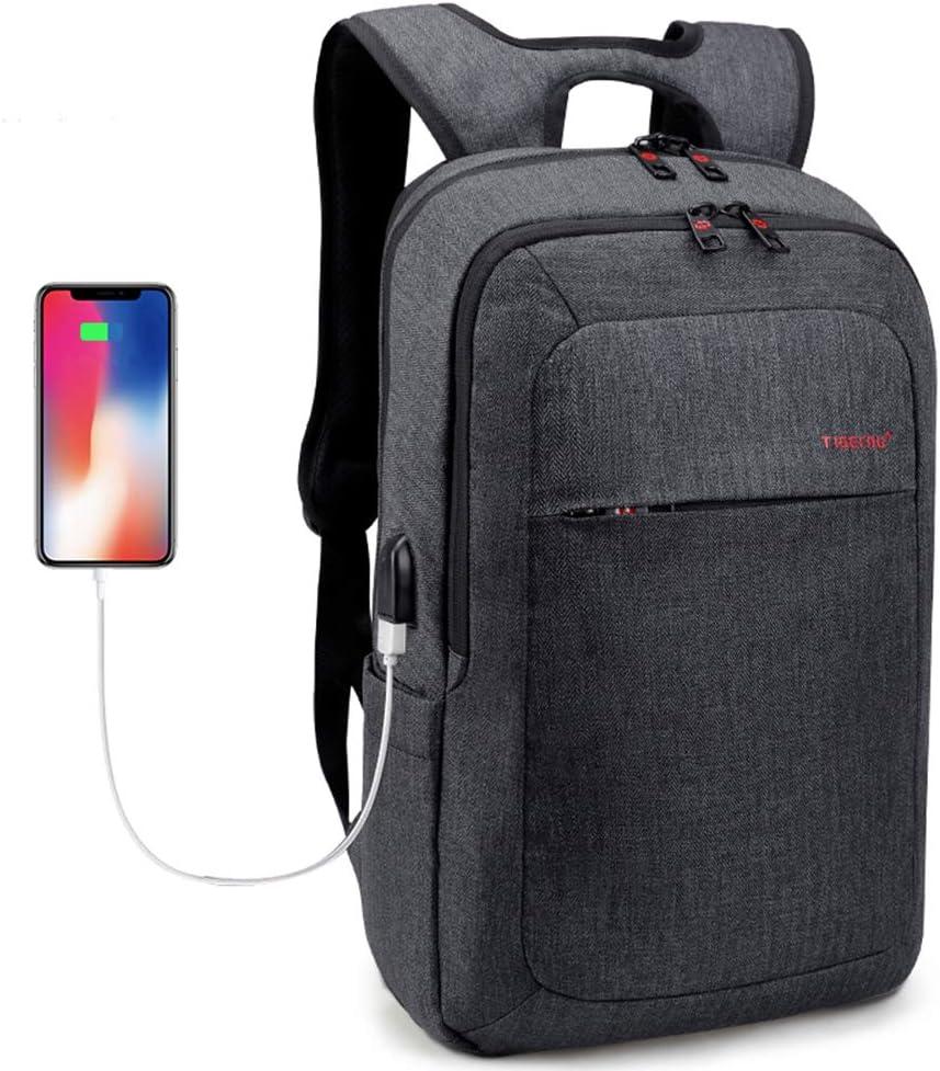 Laptop Backpack Men Women USB Port Slim Business Computer Backpack Anti-Theft Water Resistant Travel Laptop Bag Lightweight 15 15.6 inch (Grey Black)