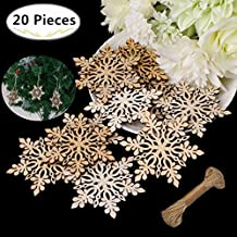 20 Christmas Wooden Snowflake, Magnolora 80mm Unfinished Blank Wood Slice Wood Ornaments with Brown Edge for Wedding Ornaments, Christmas Party Embellishments, Arts Crafts DIY Decoration