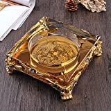 Home Ashtray Crystal Glass Cigarettes Windproof Living Room Coffee Table Multi-function Indoor And Outdoor Ashtray ( Size : 25CM )