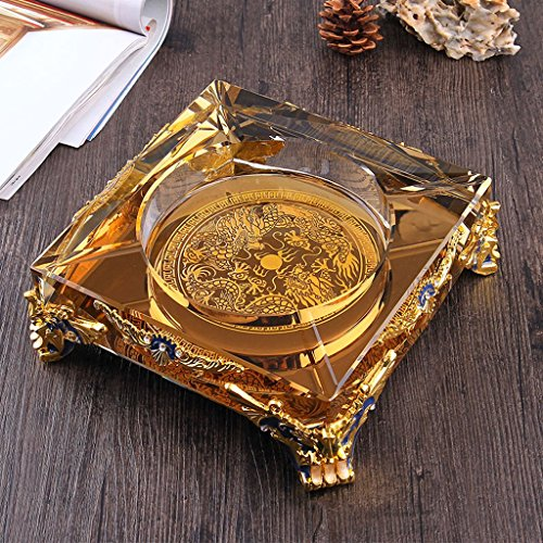 Home Ashtray Crystal Glass Cigarettes Windproof Living Room Coffee Table Multi-function Indoor And Outdoor Ashtray ( Size : 25CM ) by LTM Ashtray