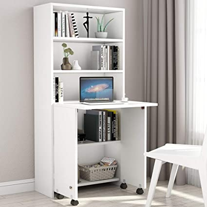 Astounding Tribesigns Folding Computer Desk With 5 Tier Bookshelf Compact Desk With Shelves Fold Out Desk With Storage Cabinet For Home Office White Interior Design Ideas Skatsoteloinfo