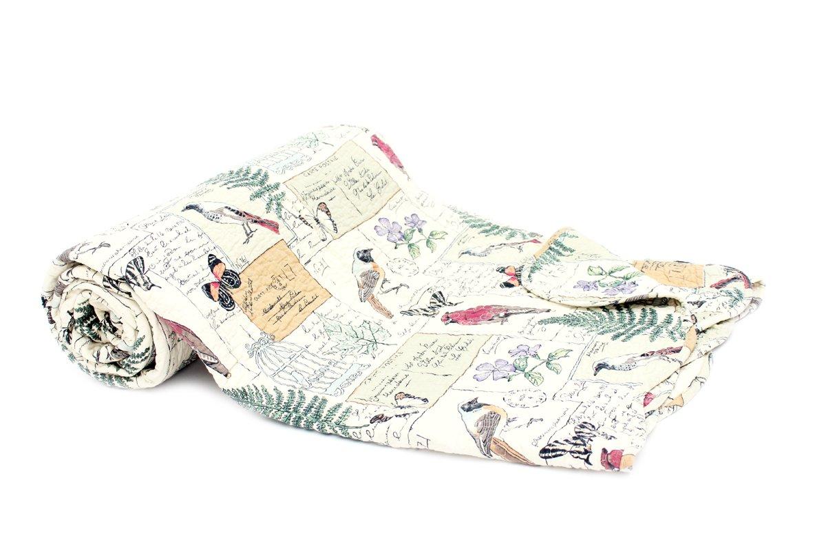 Tagesdecke Birdy 230x250cm Vögel Schmetterling Herbst Vintage Plaid Quilt Decke