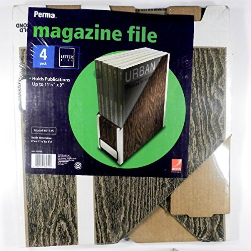 Perma(R) Woodgrain Magazine Files, 11 7/8in.H x 4 1/2in.W x 9 1/2in.D, Pack Of 4 by Perma ()