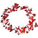 HuaYang 12 Pcs 3D papillon multi-couleurs sticker mural décor de la maison(Red)