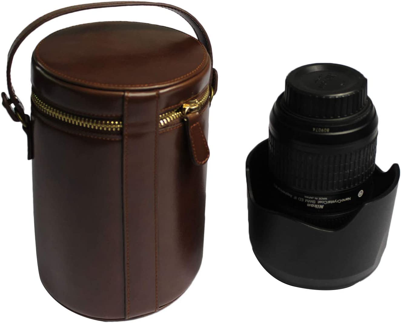 Zipper PU Leather Lens Case Lens Pouch Bag with Removable Strap for DSLR Camera Lens Fit for Canon, Nikon, Sony, Olympus, Panasonic Dark Brown M