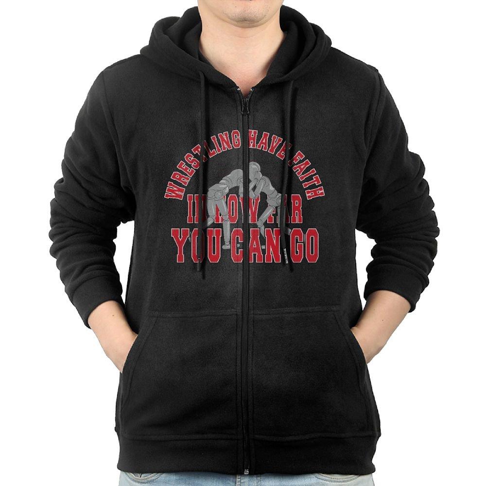 Wrestling Have Faith In How Far You Can Go Men's Big Pockets Nice Full Zip BTS Sweatshirtgraphic Hoodies