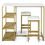COSTWAY 3-Piece Dining Set, Compact 2 Chairs and Table Set, Kitchen Set with Rectangular Faux Marble, 3 Metal Storage Shelves