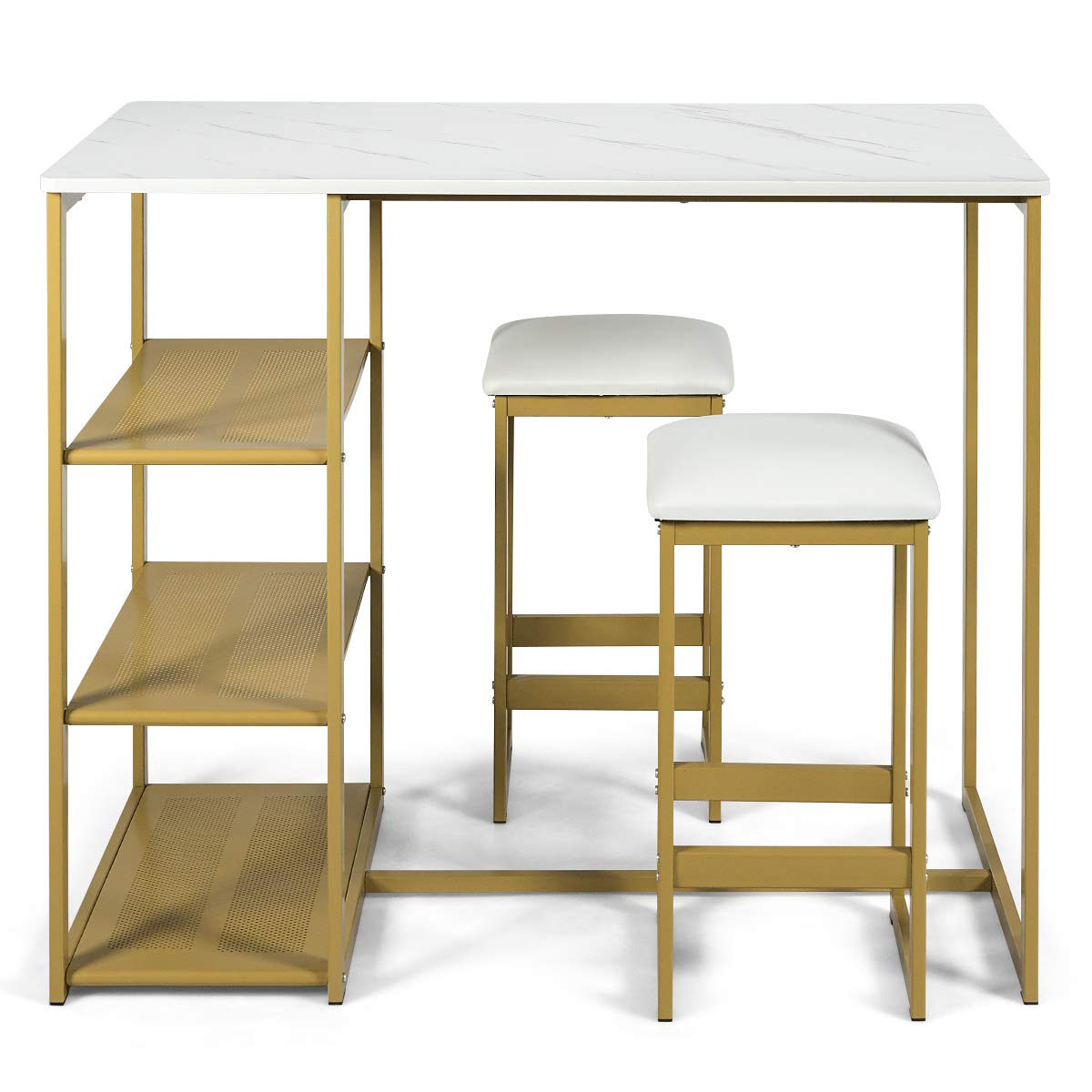 COSTWAY 3-Piece Dining Set, Compact 2 Chairs and Table Set, Kitchen Set with Rectangular Faux Marble, 3 Metal Storage Shelves, Fashionable Simple Style, Kitchen Counter Height Table Set (Gold) by COSTWAY