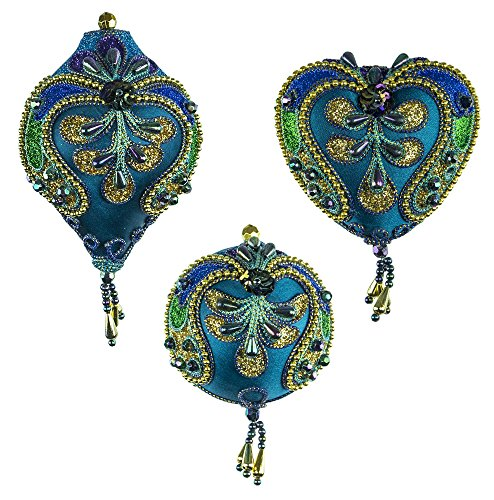 Peacock Design & Colors Finial, Ball & Heart Ornament