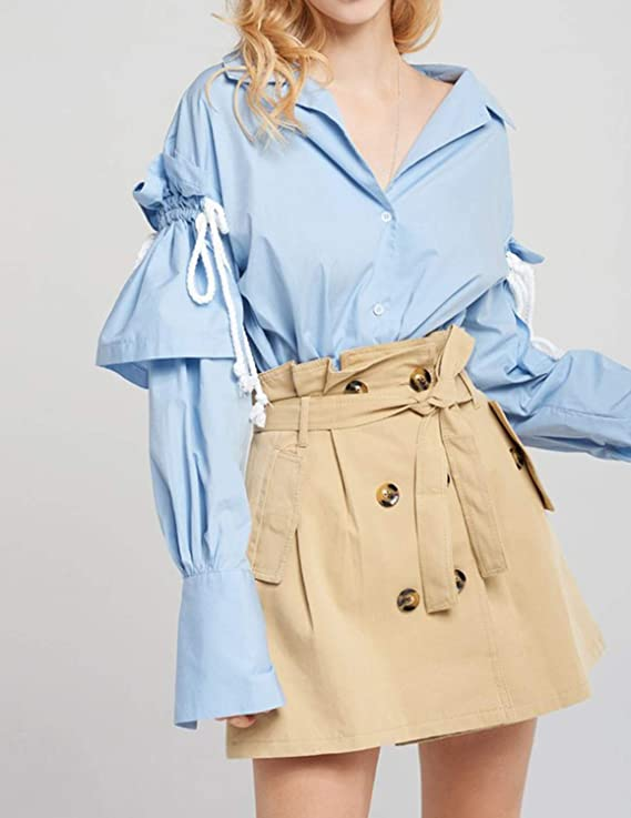 ASMAX Womens Preppy Style Ruffle Lace Up Button Lantern Sleeve Blouse