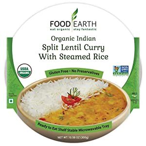 Food Earth Organic Indian Split Lentil Curry with Steamed Rice - Ready to Eat Meals - Indian Food - Organic Microwaveable Meals - Pre Prepared Meals - (6 PACK)
